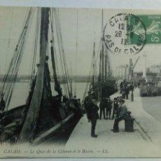 Postales: POSTAL FRANCIA 1912 CALAIS LE QUAI DE LA COLONNE EL LE BASSIN MUELLE BARCOS. Lote 80528206