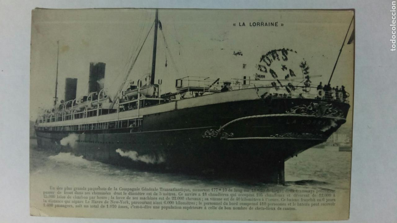 POSTAL FRANCIA CIE GENERALE TRANSATLANTIQUE LA LORRAINE (Postales - Postales Temáticas - Barcos)