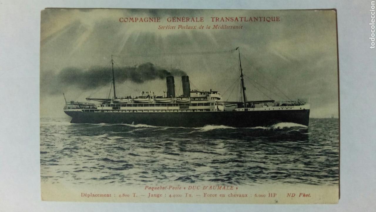 POSTAL FRANCIA CIE GENERALE TRANSATLANTIQUE PAQUEBOT POSTE DUC D'AUMALE (Postales - Postales Temáticas - Barcos)
