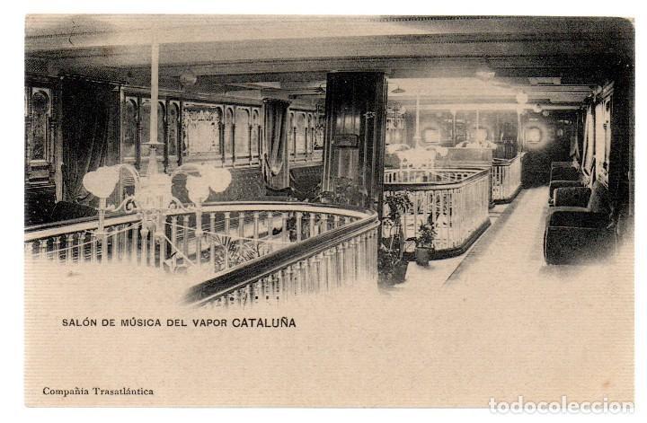 TARJETA POSTAL ,SALON DE MUSICA DEL VAPOR CATALUÑA,COMPAÑIA TRASATLANTICA. (Postales - Postales Temáticas - Barcos)