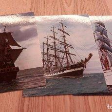 Postales: LOTE 3 POSTALES BARCOS DE VELA HISTÓRICOS. NO CIRCULADAS. Lote 83581328