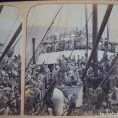 Postales: (ES-170416)FOTOGRAFIA ESTEREOSCOPICA , EMIGRANTES EN EL VAPOR BARCELONA. Lote 83901364