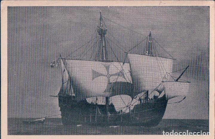 POSTAL REPRODUCCION DE LA CARABELA SANTA MARIA - RECUERDO DE SU VISITA AL PUERTO DE BARCELONA (Postales - Postales Temáticas - Barcos)