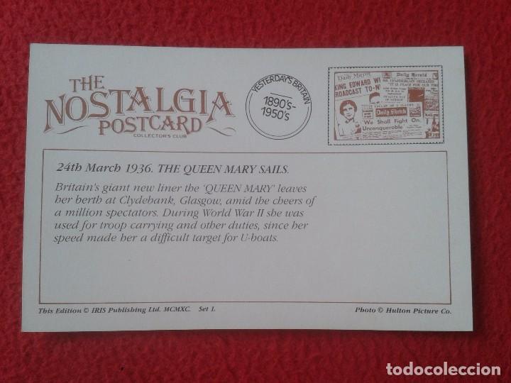 Postales: POSTAL POST CARD THE NOSTALGIA POSTCARD VINTAGE 1936 THE QUEEN MARY SAILS. GLASGOW CLIDEBANK VER FOT - Foto 2 - 88110608
