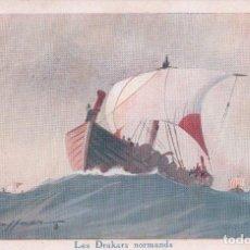 Postales: POSTAL ILUSTRADA POR L HAFFNER - LES DRAKARS NORMANDS VIKINGOS- LIGUE MARITIME ET COLONIALE. Lote 89392008