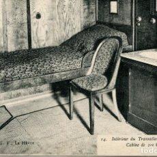 Postales: TRANSATLÁNTICO -SS PARÍS--INTERIOR-CABINA DE 1ª CLASE- AÑO 1920. Lote 89442804