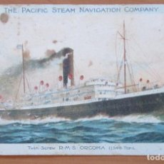 Postales: THE PACIFIC STEAM NAVIGATION COMPANY. ´ORCOMA´. CIRCULADA. 1920.. Lote 91632105
