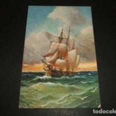 Postales: BARCO EN ALTA MAR POSTAL ILUSTRADA. Lote 93936345