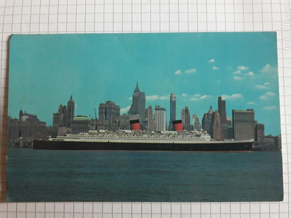 POSTAL CIRCULADA BUQUE EN MANHATTAN (Postales - Postales Temáticas - Barcos)
