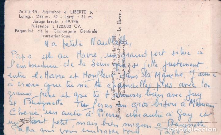 Postales: Postal. Barco. Compagnie Generale Transatlantique. Liberté - Foto 2 - 94909571
