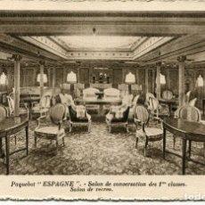Postales: PAQUEBOT- ESPAGNE-- SALÓN DE RECREO 1ª CLASE.. Lote 99199051