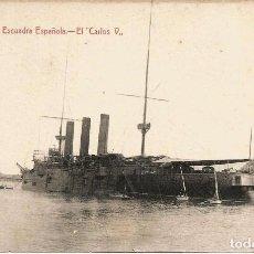 Postales: POSTAL DE CARTAGENA. BARCO DE LA ESCUADRA ESPAÑOLA CARLOS V. Lote 99638447