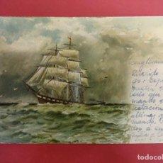 Postales: ANTIGUA POSTAL CON VELERO ILUSTRADO. CIRCULADA EN 1903. Lote 99699587