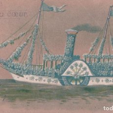 Postales: POSTAL DIBUJO EN RELIEVE BARCO - CIRCULADA 1907 - MUY BONITA. Lote 99789423
