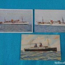 Postales: 3 ANTIGUAS POSTALES -- BARCO VILLA DE MADRID - AUSONIA Y CIUDAD DE BARCELONA - SIN CIRCULAR. Lote 101327083