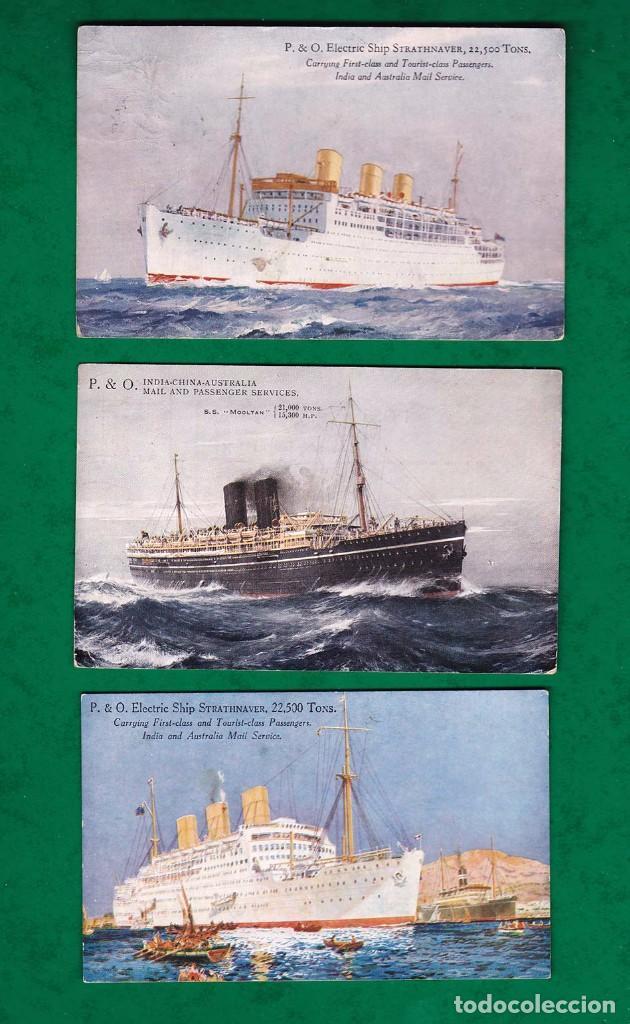 LOTE DE 3 POSTALES ANTIGUAS BARCO P & O (Postales - Postales Temáticas - Barcos)