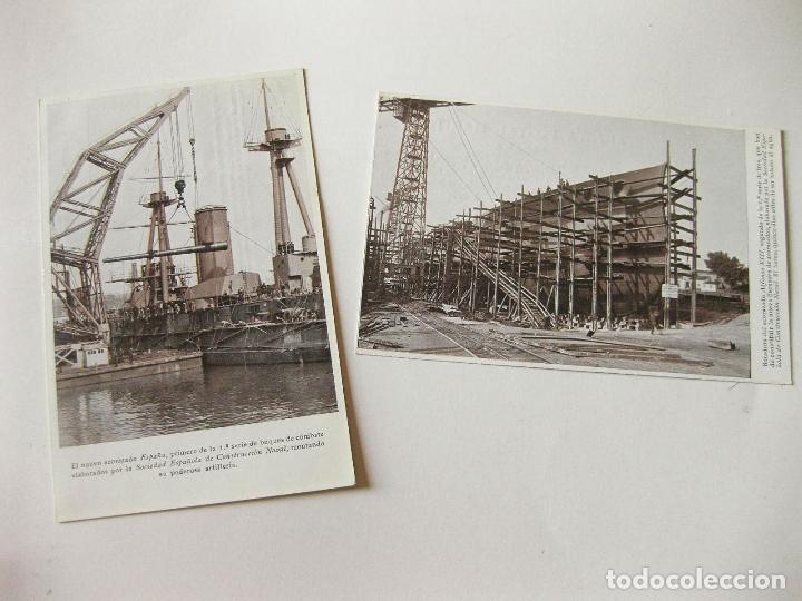 2 POSTALES DE LA SOCIEDAD ESPAÑOLA DE CONSTRUCCION NAVAL - BOTADURA ACORAZADO ALFONSO XIII (Postales - Postales Temáticas - Barcos)