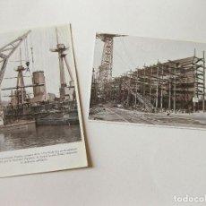 Postales: 2 POSTALES DE LA SOCIEDAD ESPAÑOLA DE CONSTRUCCION NAVAL - BOTADURA ACORAZADO ALFONSO XIII. Lote 103704811