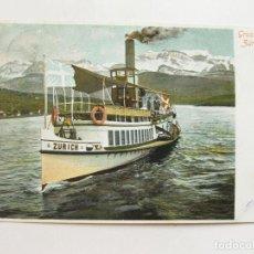 Postales: ANTIGUA POSTAL DEL BARCO DE VAPOR EN ZURICH. CIRCULADA EN 1903. Lote 103710415