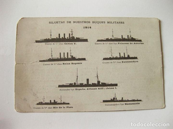 POSTAL CON LAS SILUETAS DE NUESTROS BUQUES MILITARES. 1914 (Postales - Postales Temáticas - Barcos)