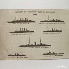 Postales: POSTAL CON LAS SILUETAS DE NUESTROS BUQUES MILITARES. 1914. Lote 103715223