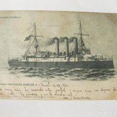 Postales: POSTAL DE LA MARINA ESPAÑOLA. CRUCERO PROTEGIDO CARLOS V. CIRCULADA EN . Lote 103719163