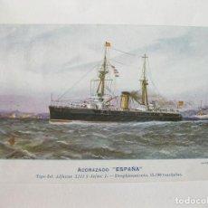 Postales: POSTAL DEL ACORAZADO ESPAÑA. TIPO DEL ALFONSO XIII Y JAIME I. Lote 103719499
