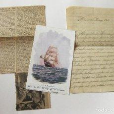 Postales: POSTAL, CARTA Y RECORTE DE PRENSA ORIGINAL DE LA VISITA DE LA CORBETA NAUTILOS A MEXICO. NEXICO 1903. Lote 103741303