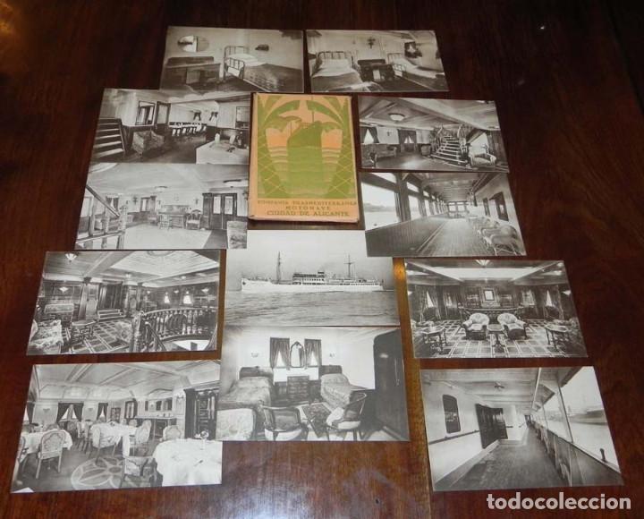 Postales: 12 POSTALES DEL BARCO MOTONAVE CIUDAD DE ALICANTE, COMPAÑIA TRANSMEDITERRANEA, NO CIRCULADAS. - Foto 2 - 104736727