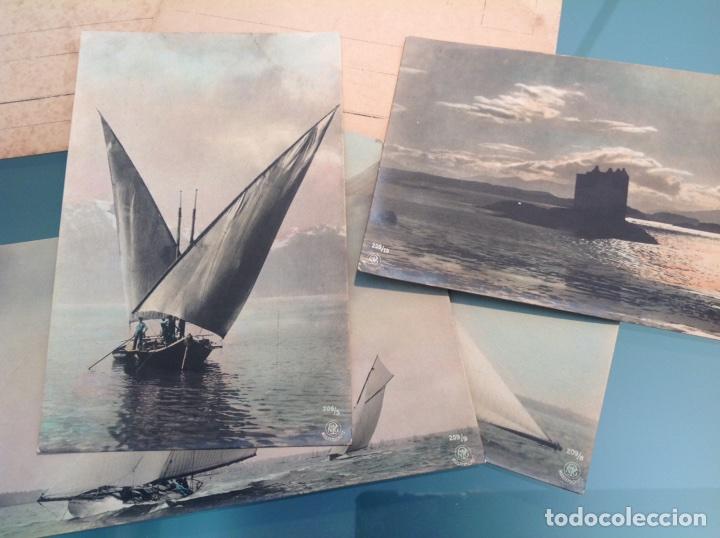 Postales: Lote 10 postales antiguas veleros coloreadas - Foto 3 - 105025118