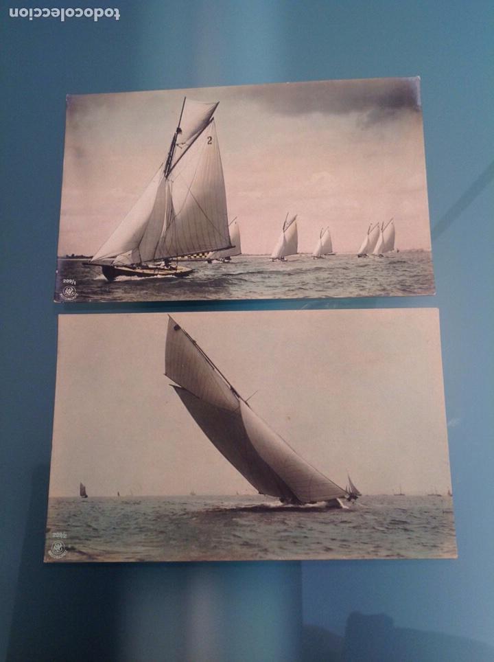 Postales: Lote 10 postales antiguas veleros coloreadas - Foto 4 - 105025118