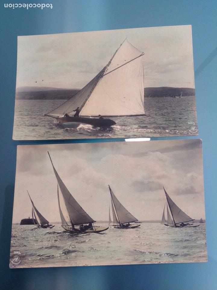 Postales: Lote 10 postales antiguas veleros coloreadas - Foto 5 - 105025118