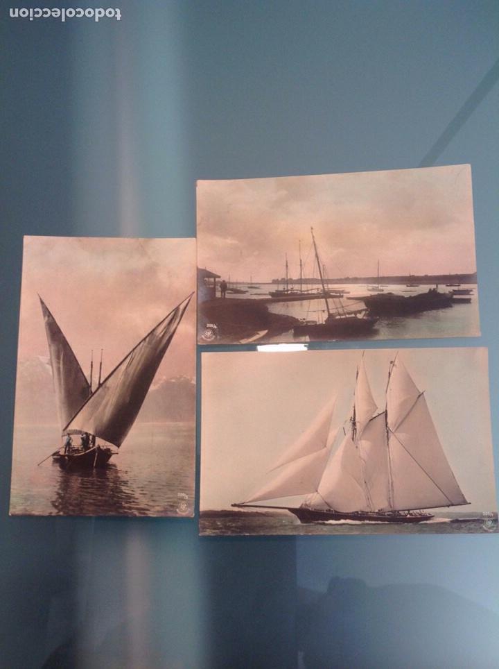 Postales: Lote 10 postales antiguas veleros coloreadas - Foto 6 - 105025118