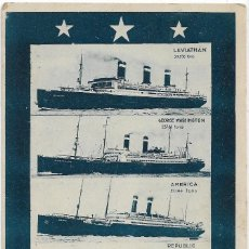 Postales: POSTAL UNITED STATES LINES .- LEVIATHAN , AMERICA , REPUBLIC , HARDING.... Lote 107196359