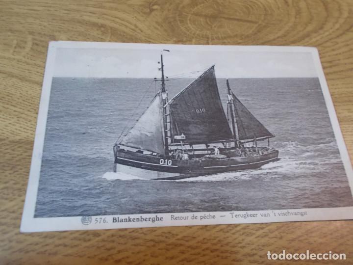 BLANKENBERGHE. RETOUR DE PECHE TERUGKEER VAN T´VISCHANGST. CIRCULADA 1938 (Postales - Postales Temáticas - Barcos)