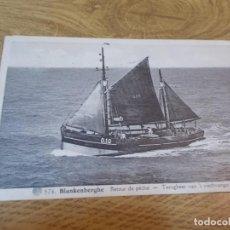 Postales: BLANKENBERGHE. RETOUR DE PECHE TERUGKEER VAN T´VISCHANGST. CIRCULADA 1938. Lote 110049387