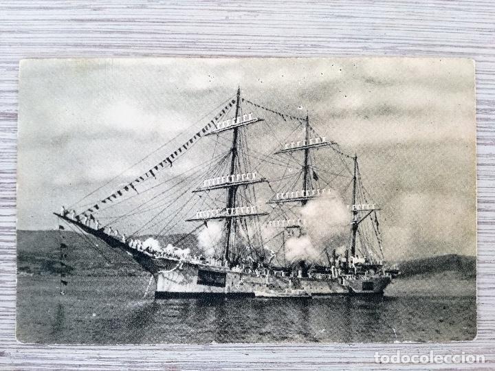 ANTIGUA POSTAL - BUQUE ESCUELA GALATEA - SERIE I Nº 2 - 1943 - FOTO GLEZ DE AGUILAR - ARCHIVO E.M. D (Postales - Postales Temáticas - Barcos)