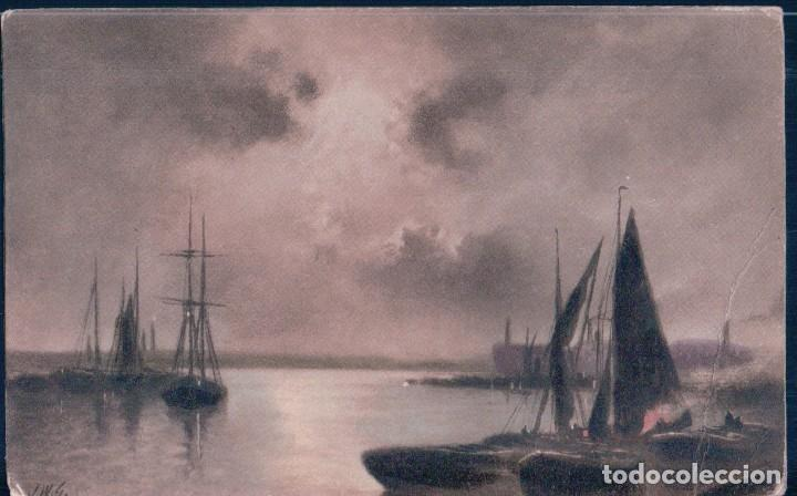 POSTAL BARCOS - DIBUJO (Postales - Postales Temáticas - Barcos)