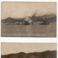 Postales: 2 POSTALES FOTOGRÁF. HUNDIMIENTO TRANSATLÁNTICO PRINCIPESSA IOLANDA EL DÍA DE SU BOTADURA AÑO 1907. Lote 114452111