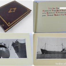 Postales: ALBUM CON 25 FOTOGRAFIAS DE LA BOTADURA DEL BUQUE PICO DE ANETO, FABRICADO EN LA FACTORIA DE LA CARR. Lote 115162923