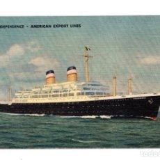 Postales: S.S.INDEPENDENCE AMERICAN EXPORT LINES. MATASELLO DE RODILLO DEL CONSIGNATARIO.. Lote 115626947