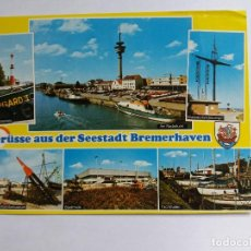 Postales: POSTALES POSTAL 1983 SALUDOS DESDE ELL SEESTADT BREMERHAVEN BARCO FARO. Lote 118155111