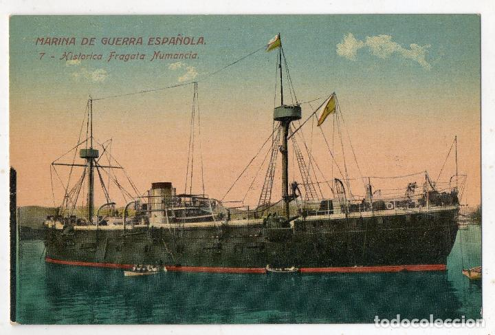 MARINA DE GUERRA ESPAÑOLA. HISTÓRICA FRAGATA NUMANCIA. (Postales - Postales Temáticas - Barcos)