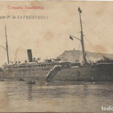 Postales: COMPAÑIA TRASATLANTICA .- VAPOR P. DE SATRUSTEGUI .- FOTOTIPIA THOMA .- CIRCULADA . Lote 130093475
