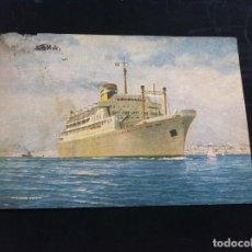 Postales: POSTAL. COMPANHIA COLONIAL DE NAVEGAÇAO VERA CRUZ. TIP. DUARTE, LISBOA. ESCRITA EN 1954. BARCO. Lote 130701344