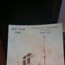 Postales: POSTAL DEL BARCO TRIPLE SCREENING PENN LAND RED STAR LINE. Lote 130716414