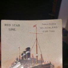 Postales: POSTAL DEL BARCO BELGEN LAND RED STAR LINE. Lote 130716683