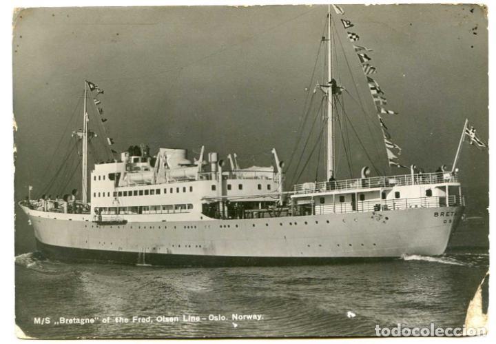 M/S BRETAGNE DE FRED OLSEN LINE, OSLO, NORWAY, NORUEGA, 1939 CENSURA MILITAR BURGOS (Postales - Postales Temáticas - Barcos)