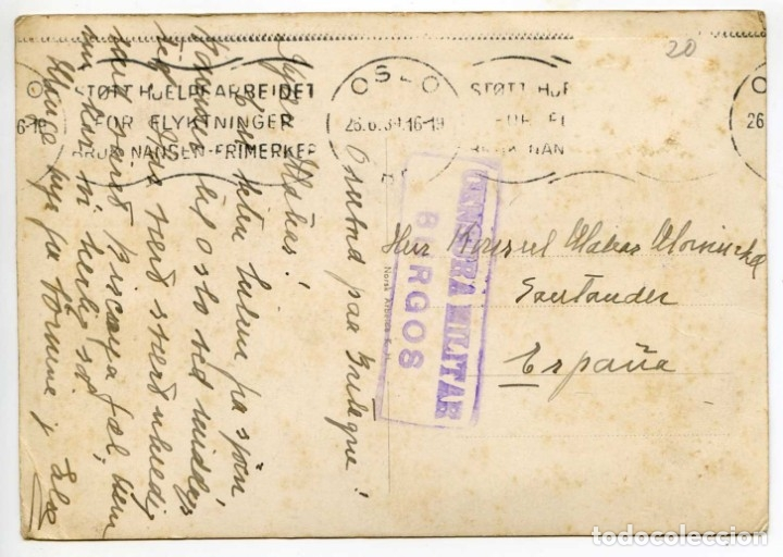 Postales: M/S Bretagne de Fred Olsen Line, Oslo, Norway, Noruega, 1939 Censura Militar Burgos - Foto 2 - 131882606