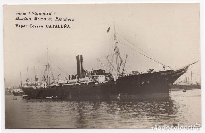 POSTAL FOTOGRÁFICA DE MARINA MERCANTE ESPAÑOLA - VAPOR CORREO CATALUÑA (Postales - Postales Temáticas - Barcos)